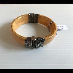 Bone Bracelet Hinge & Peg Closure Ornate Silver